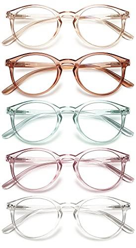 KOOSUFA Mode Anti Blaulicht Lesebrille Federscharnier Damen Herren Runde Lesehilfen Sehhilfe Anti Müdigkeit Brille 1.0 1.25 1.5 1.75 2.0 2.25 2.5 2.75 3.0 3.5 4.0 (5 Farben Durchsichtig Stil, 1.0)