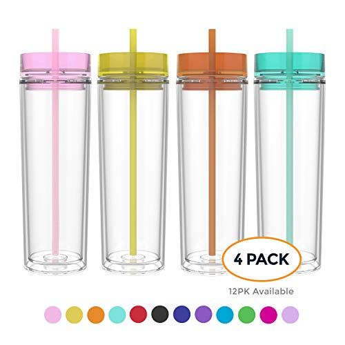 Maars Drinkware Double Wall Insulated Skinny Acrylic Tumblers with Straw and Lid, 16 oz. (4 pack, Carnival)