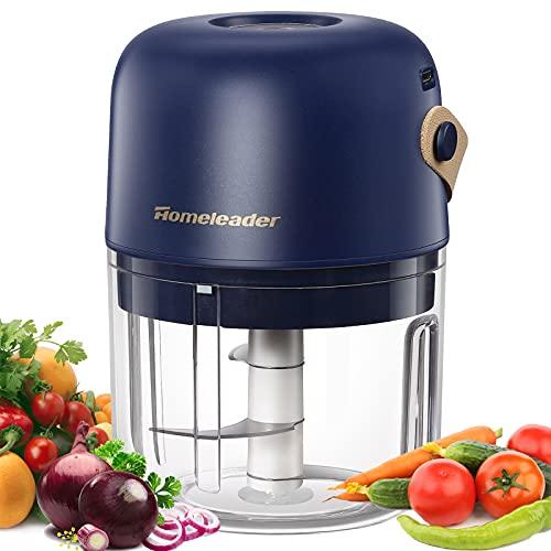 Mini cortador de alimentos eléctrico procesador de alimentos inalámbrico portátil picador de cebolla con mango de 250 ml de...