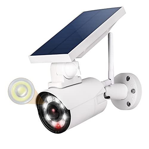 Fake Camera with Light, 360° Rotatable Dummy Security Surveillance CCTV Camera, Super Bright Outdoor Waterproof Solar Motion Sensor Light with Red Flashing Warning Light for Home Security (White)