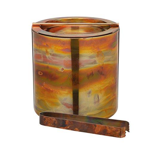 BarCraft - Secchiello per il ghiaccio in acciaio inox, con coperchio e pinze, 1,5 litri, finitura rame