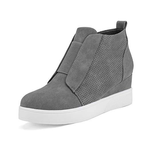 DREAM PAIRS Women's Platform Wedge Sneakers Ankle Booties Grey Size 9 M Us Wedge-Snkr-1