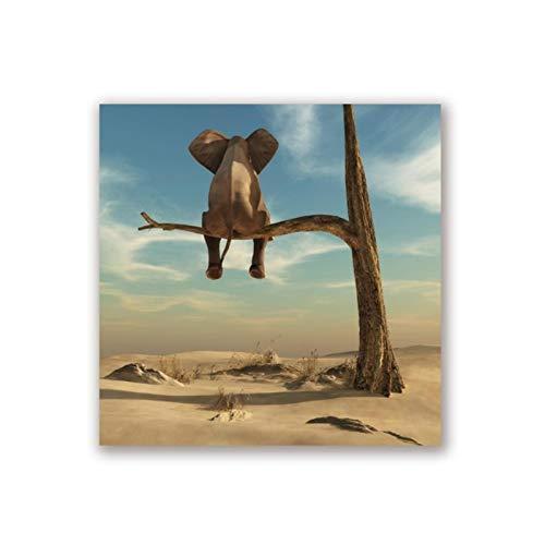 zhengchen Impresión en Lienzo Elefante se Encuentra en la Rama de un árbol Lienzo Imagen de Arte de Pared Surrealismo Pintura Póster e Impresiones Decoración del hogar 70x70cm / 27.5'x27.5 Sin Marco