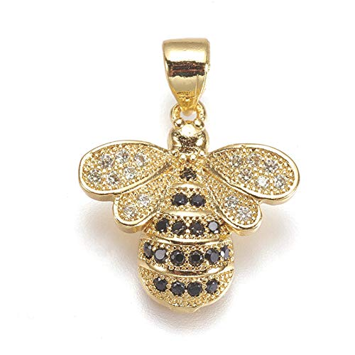 PandaHall 5pcs Crystal Cubic Zirconia Bees Charms Pendant 16.5x16x4mm Golden Plated Rhinestone Diamante Pendants for Jewelry Making
