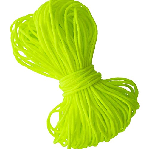 Yellow Neon Round Elastic String Cord Earloop Bands for Face Masks Making Supplies Sewing Craft Project Bracelet String Trim for Crafting Thin Soft & Stretchy 20YARD