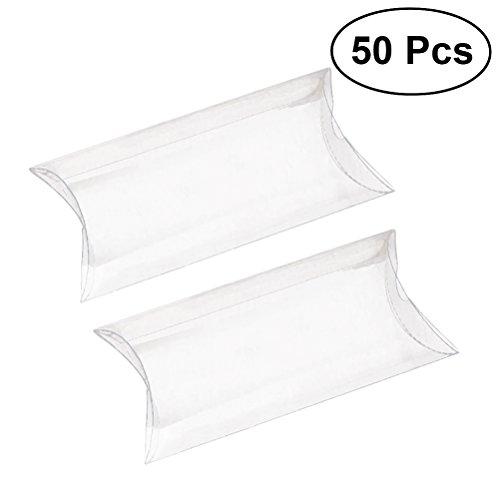 Rosenice - Juego de 50 cajas de regalo transparentes de PVC para boda, regalo de fiesta