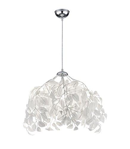 Reality Leuchten Pendelleuchte Leavy R10461901, Metall Nickel matt, Schirm Kunststoff weiß, 1 x E27