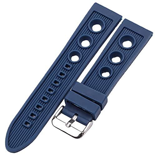 Banda de Repuesto Pulsera de la banda de reloj de silicona 22mm negro azul mujeres hombres reloj de reloj de goma correa de acero inoxidable Pin de acero pulido Hebilla Para Hombres / Mujeres Banda de