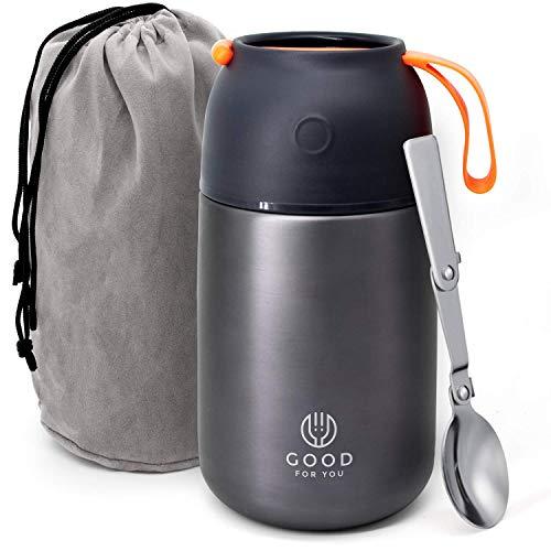 Thermos alimentaire de Good For You - Boîte à repas inoxydable pour repas chauds ou froids - Boîte à lunch pour école, bureau, camping - Isolation double parois avec cuillère pliable et sac - Gris