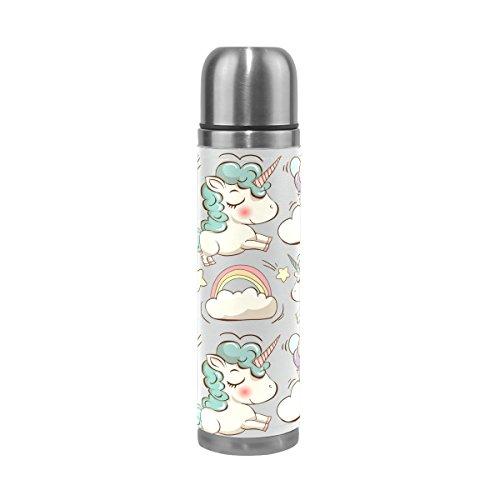 COOSUN Botella del Unicornio Patern Acero Inoxidable Frascos de Agua de vacío Taza aislada a Prueba de Fugas de la Botella Doble vacío, Viajes PU Taza térmica, 17 oz 17 oz