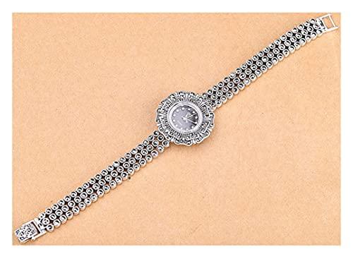 CHXISHOP Reloj de Pulsera de Las Mujeres Vintage Inlaid Diamond Watch Watch Watch 925 Sterling Silver Jewelry Vestido de Mujer Reloj de Pulsera black-17.5cm