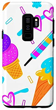 Galaxy S9+ Cute Ice Cream Pattern with a white background Case