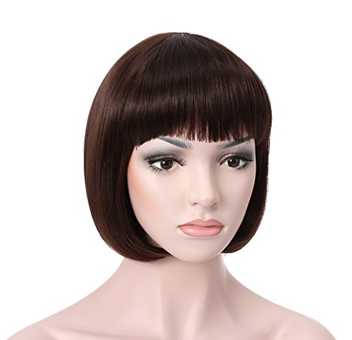 "OneDor 10"" Short Straight Hair Flapper Cosplay Costume Bob Wig (6# - Medium Chestnut Brown)"