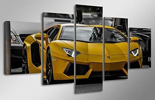 Cuadro Lienzo 5 Piezas Yellow Lamborg Aventador Car Cuadros Personalizados con Foto Lienzo Decorativo para Pared Decoracion Hogar Moderno Cuadro Habitacion Decoracion De Salones(175 * 80cm)