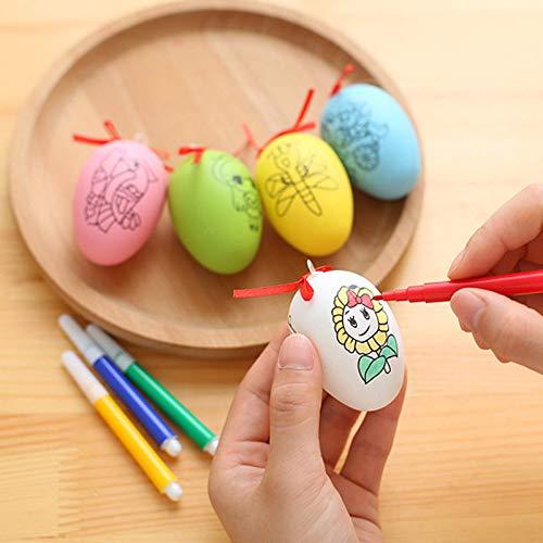 uova di pasqua kinder frozen Uovo di Pasqua Simulazione Uovo Doodle Decorazione Regalo di Festa Uovo di Plastica Uovo D'Oca Bambino Fatto A Mano Fai da Te 6 Pezzi