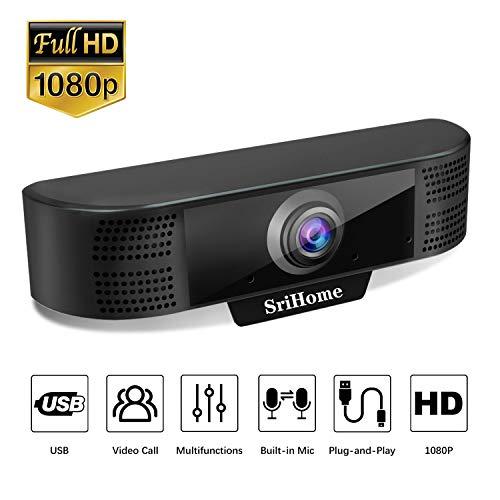 SriHome Webcam para PC Ordenador 1080P SH037, Cámara Web de Alta Definición para Videollamadas Videoconferencia, Webcam USB Full HD Compatible con Skype, FaceTime, Hangouts, Plug and Play