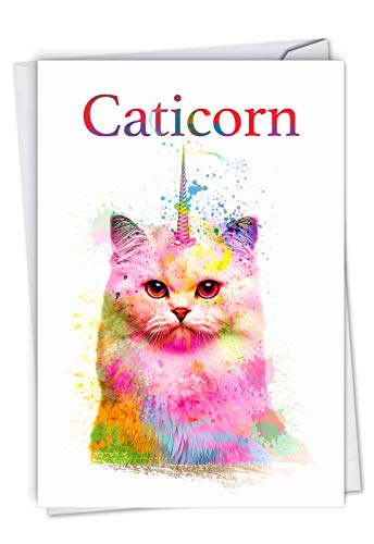 The Best Card Company, Caticorn - Funny Cat Birthday Greeting Card - Colorful Watercolor Bday Unicorn C6882BDG