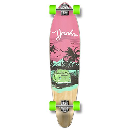 Yocaher New VW Vibe Beach Series Longboard Complete Cruiser and Decks Available for All Shapes (Complete-Kicktail-Pink)