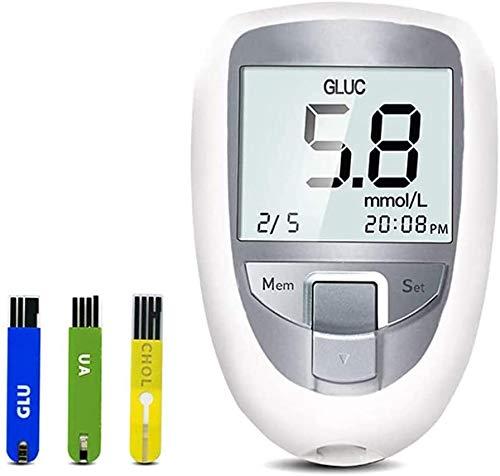 Oximeter 3 en 1 Multi-función Azúcar ácido úrico en Sangre Monitor de colesterol, azúcar en la Sangre con 25 10 10 El ácido úrico El colesterol Tira de Prueba del analizador para la Prueba de Inicio