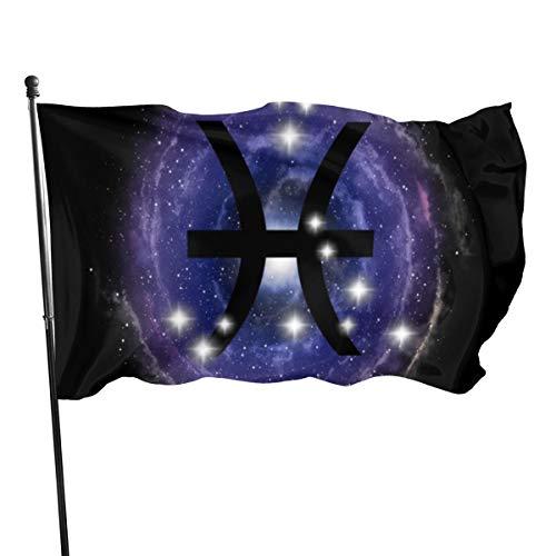 UKFaaa Sternzeichen Fische Sternzeichen Sterne Sternbild auf Nebel Dekorative Garten-Flaggen, 91,4 x 152,4 m Flagge für drinnen und draußen, Schwarz, Einheitsgröße
