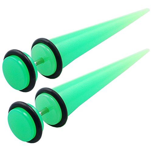 bodyjewelrytrend 1 Paar Unisex Fake Plug Taper dehnstäbe 1,2mm grün Acryl Ohrstecker Ear expender Schwarz O-Ringe HAGM