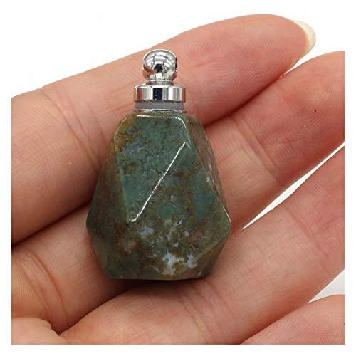 JINGGEGE Jengijo Polígono de Perfume de Piedra Natural Polígono Polígono Colgante semiprecioso para joyería Que Hace encantos Accesorio de Collar de Bricolaje (Metal Color : Aquatic Agate)