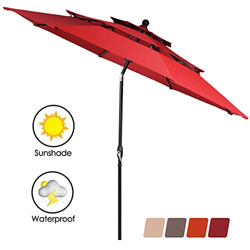 Tangkula 10 Ft 3 Tier Auto-tilt Patio Umbrella, Outdoor Umbrella W/Double Vented, Market Table Tilt Umbrella with Crank, Outdoor Aluminum Umbrella for Market, Backyard, Pool, Garden (Burgundy)