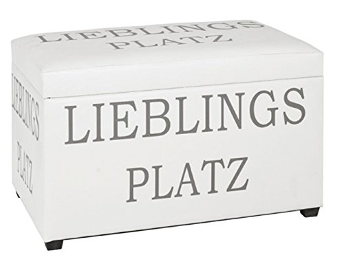 PEGANE Coffre de Rangement Coloris Blanc en MDF et Tissu - Dim : L65 x P40 x H42 cm