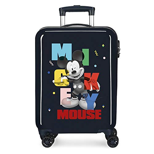 Disney Mickey Party Cabin Suitcase Blue 38 x 55 x 20 cm Rigid ABS Side Combination Closure 34L 2.7 kg 4 Double Wheels Hand Luggage