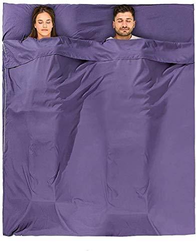 Doact インナーシュラフ 寝袋 インナーシーツ トラベルシーツ 軽量 肌触り良い?封筒型 ホテル 列車 旅行用 車中泊 アウトドア キャンプ テント 防災 グッズ 丸洗い可 収納バッグ付き 2人用(パープル)