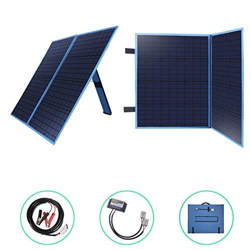 Betop-camp Panel Solar Plegable Portátil de 100W 12V con un Controlador de Carga Solar de 10A para Camper, Caravaning, Reuniones de Autocaravanas, Ferias, Oficinas Móviles Sistema de 12V (Azul