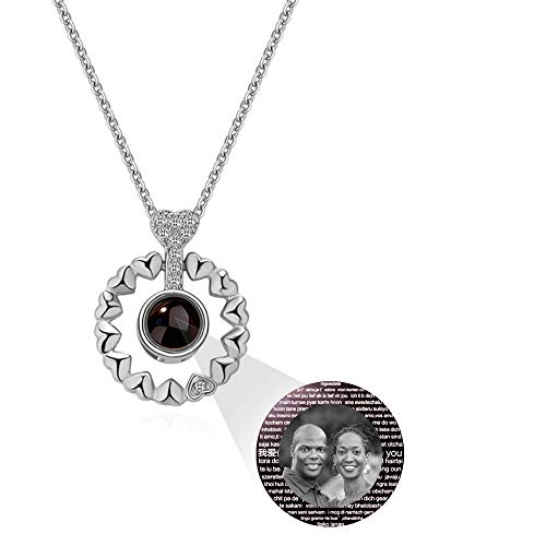 hjsadgasd Foto Personalizada 925 Collar de Plata 100 Idiomas Collar de proyección Collares Pendientes Joyas Regalo para Mujeres