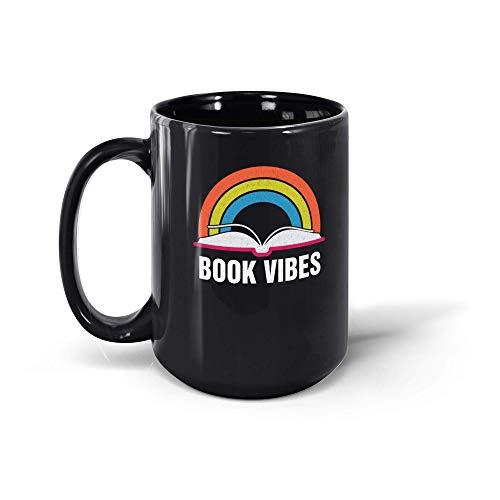 N\A Taza de café Retro Vintage Book Vibes Taza de café Arcoíris Amantes de la Lectura Regalo para Hombres Mujeres 191002 Taza Negra de 11 oz