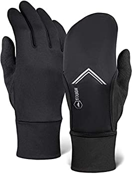 Running Mitten Gloves with Touch Screen - Winter Glove Liners with Convertible Mittens Cover for Texting Cycling & Driving - Thin Lightweight Warm Cold Weather Thermal Sports Gloves for Men & Women