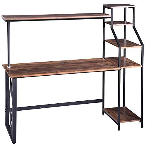 150 x 60 x 140 cm, escritorio para ordenador con estante, color negro, mesa de oficina para estudios, mesa de trabajo moderna para el hogar y la oficina (marrón)