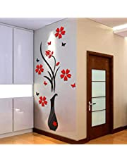 2021 nuevo ramo de rosas pegatinas de pared DIY florero árbol de flores arco de cristal 3D pegatinas de pared decoración del hogar pegatinas de pared dormitorio decoración de pared pegatinas (B)