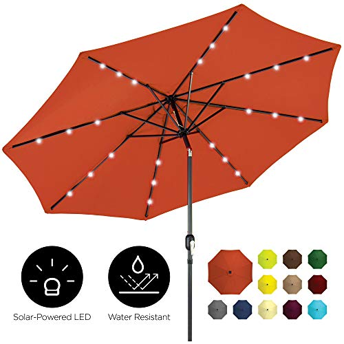 Best Choice Products 10ft Solar LED Lighted Patio Umbrella w/Tilt Adjustment, Fade-Resistant Fabric - Rust