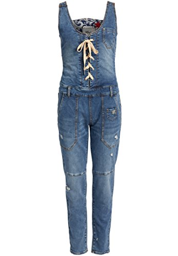 khujo Damen Jumpsuit NANABU aus Denim mit Schnürung Latzhose mit verstellbaren Trägern Jeanshose