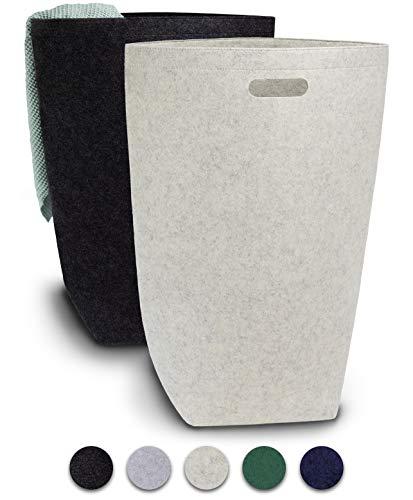 Elwin Neiles® <80L/2St.> Designer Wäschekorb aus stilvollem Filz - Faltbarer Wäschesammler mit Griffen & Magnetverschluss - Wäschesack