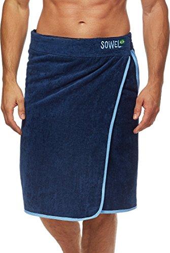 Sowel® Saunakilt Herren, Saunahandtuch mit Klettverschluss, Saunatuch aus 100% Baumwolle, 60 x 140 cm, Navy/Blau