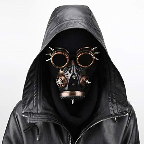 WAVENI Biohazard Steampunk Máscara de Gas Gafas Espigas Esqueleto Guerrero Máscara de la Muerte Mascarada Cosplay Disfraces de Halloween (Color : Brass)