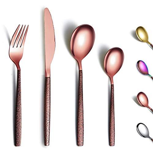 Berglander Set di posate 24 pezzi con manico in superficie lunare e placcatura in titanio con testa in oro rosa lucido, set di posate moderno in rame in acciaio inossidabile Set di utensili per 6