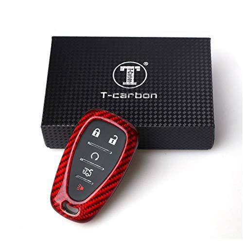 Kwak's Autoschlüssel Abdeckung Glasfaser Schlüsselhalter Kompatibel für Chevrolet 16 Camaro Malib Key Fob Autoschlüssel Fall(rot)