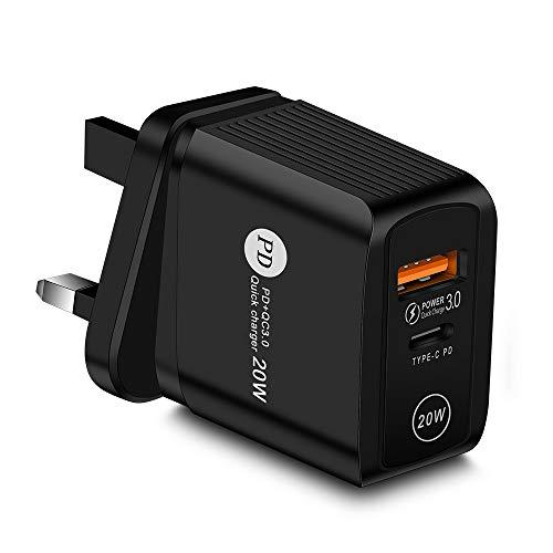 Chnrong Cargador USB C, 20 W tipo C PD USB Plug Cargador de carga rápida, cargador de pared adaptador de corriente compatible con iPhone 12/12 Mini/12 Pro/12 Pro Max iPad Samsung Google Huawei, Tablet