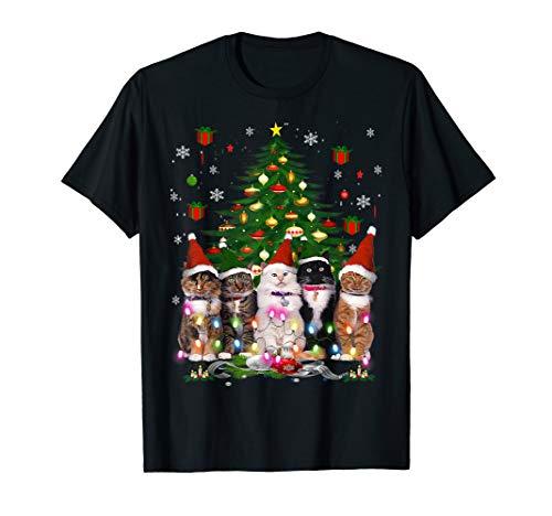Cat Christmas Funny Shirt Meowy Christmas Tree Cat T-Shirt