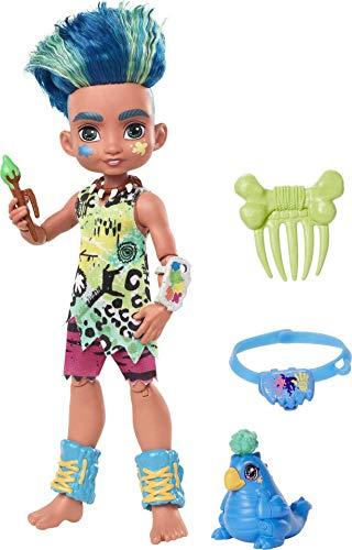 Cave Club GNL87 - Cave Club Slate Puppe (25,4cm)mit neonfarbener Tunika, Palette zum Befestigen am Handgelenk, Reise in die Vergangenheit, Spielzeug ab 4 Jahren