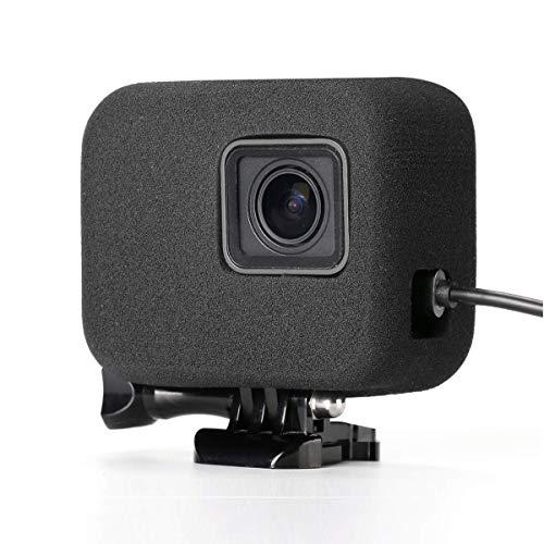 XIAOYINREN GoPro HERO7 Black・HERO6・HERO5用 風防カバー 風防スポンジケース 騒音防止 充電可能 直接充電 録音ノイズ対策 (ブラック)