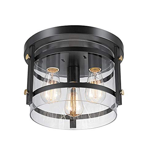 Globe Electric 60417 Wexford 3-Light Flush Mount Ceiling Light, Dark Bronze, Brass Detail, Clear Glass