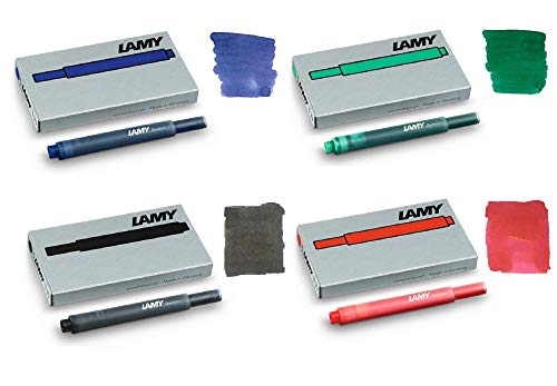 Lamy T10 Fountain Pen Ink Cartridges - Mix 4 Pack (20 Cartridges) - Black, Blue, Red, Green