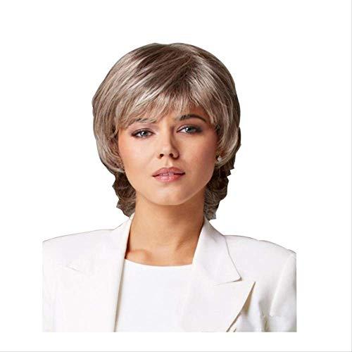 Européen et américain femmes cheveux blonds cheveux courts back-up cheveux raides courts micro-roll ensemble de cheveux en fibre chimique